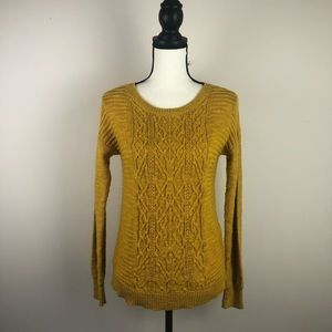 MOSSIMO cable knit yellow sweater medium